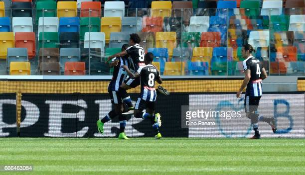 Duvan Zapata of Udinese Calcio celebrates after scoring his tea'ms second goal during the Serie A match between Udinese Calcio and Genoa CFC at...