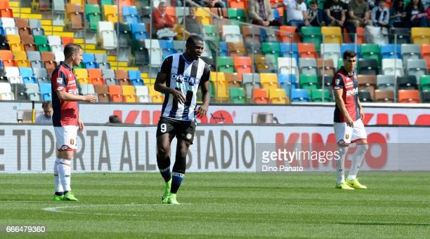 Duvan Zapata of Udinese Calcio celebrates after scoring his team's second goal during the Serie A match between Udinese Calcio and Genoa CFC at...