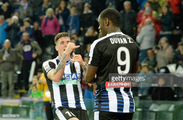 Duvan Zapata of Udinese Calcio celebrates with his team mate Rodrigo Javier De Paul after scoring his teams second goal during the Serie A match...