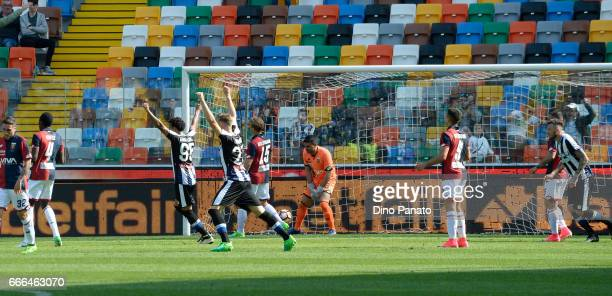 Duvan Zapata of Udinese Calcio scores his team's second goal during the Serie A match between Udinese Calcio and Genoa CFC at Stadio Friuli on April...