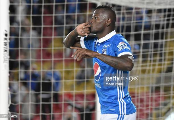 Duver Riascos of Millonarios celebrates after scoring the first goal of his team during a match between Millonarios and Rionegro Aguilas as part of...