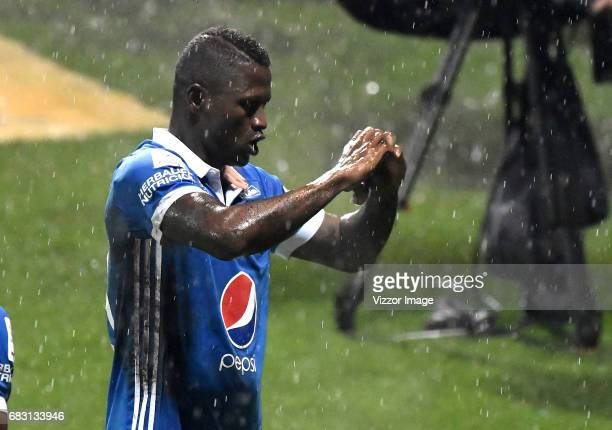 Duvier Riascos of Millonarios celebrates after scoring a goal during the match between Tigres and Millonarios as part of the Liga Aguila I 2017 at...