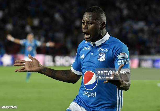 Duvier Riascos of Millonarios celebrates after socring his team's second goal during the match between Millonarios and Atletico Bucaramanga at...
