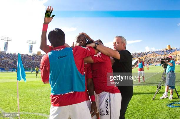Duvier Riascos of Tijuana celebrates a goal during a match as part of the Torneo Clausura between San Luis and Tijuana at Alfonso Lastras Stadium on...