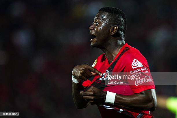 Duvier Riascos of Tijuana celebrates a goal during a match between Xolos and Chivas as part of the Torneo Clausura 2013 Liga MX at Caliente Stadium...