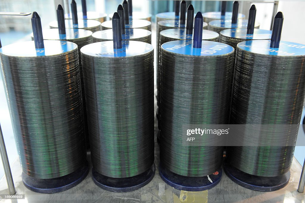 DVDs are pictured at the MPO International company plant in Villaines-la-Juhel, western France, on January 7, 2013.