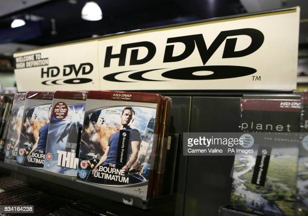 HD DVDs including The Bourne Ultimatum are on display in HMV Oxford Street London on the day that Bluray emerged as winner in the format war with its...