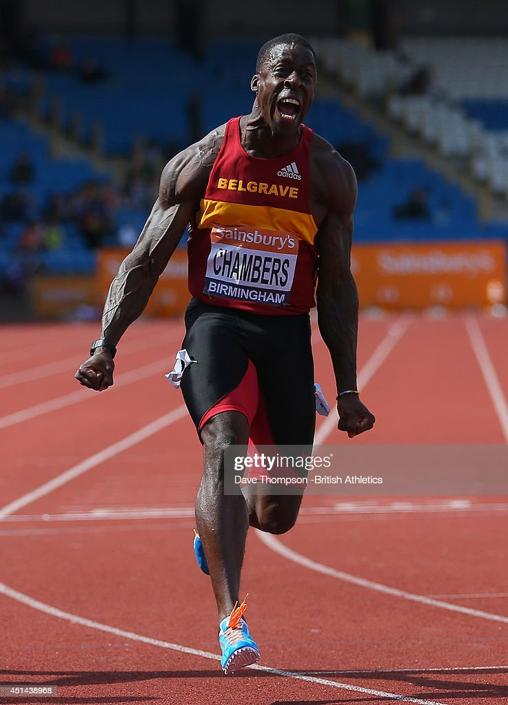 <a gi-track='captionPersonalityLinkClicked' href=/galleries/search?phrase=Dwain+Chambers&family=editorial&specificpeople=215102 ng-click='$event.stopPropagation()'>Dwain Chambers</a> celebrates winning the mens 100metre final during day three of the Sainsbury's British Championships at Birmingham Alexander Stadium on June 29, 2014 in Birmingham, England.