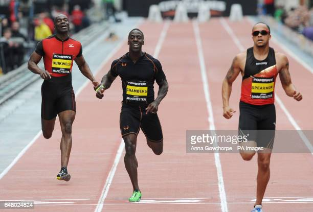 Dwain Chambers crosses the line in second place after being beaten by Wallace Spearmon in the Men's 150m event during the Great CityGames on...
