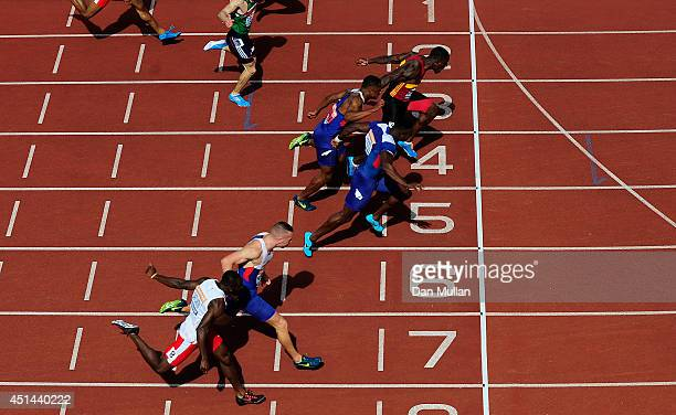 Dwain Chambers crosses the line to win the Men's 100m Final during day three of the Sainsbury's British Championships at Birmingham Alexander Stadium...