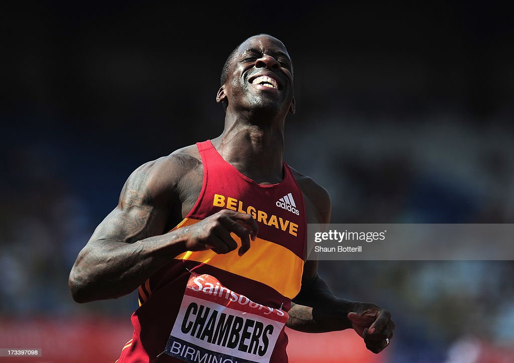 <a gi-track='captionPersonalityLinkClicked' href=/galleries/search?phrase=Dwain+Chambers&family=editorial&specificpeople=215102 ng-click='$event.stopPropagation()'>Dwain Chambers</a> of Belgrave Harriers celebrates after winning the Men's 100 Metres Final during the Sainsbury's British Athletics World Trials and UK & England Championships at Birmingham Alexander Palace on July 13, 2013 in Birmingham, England.