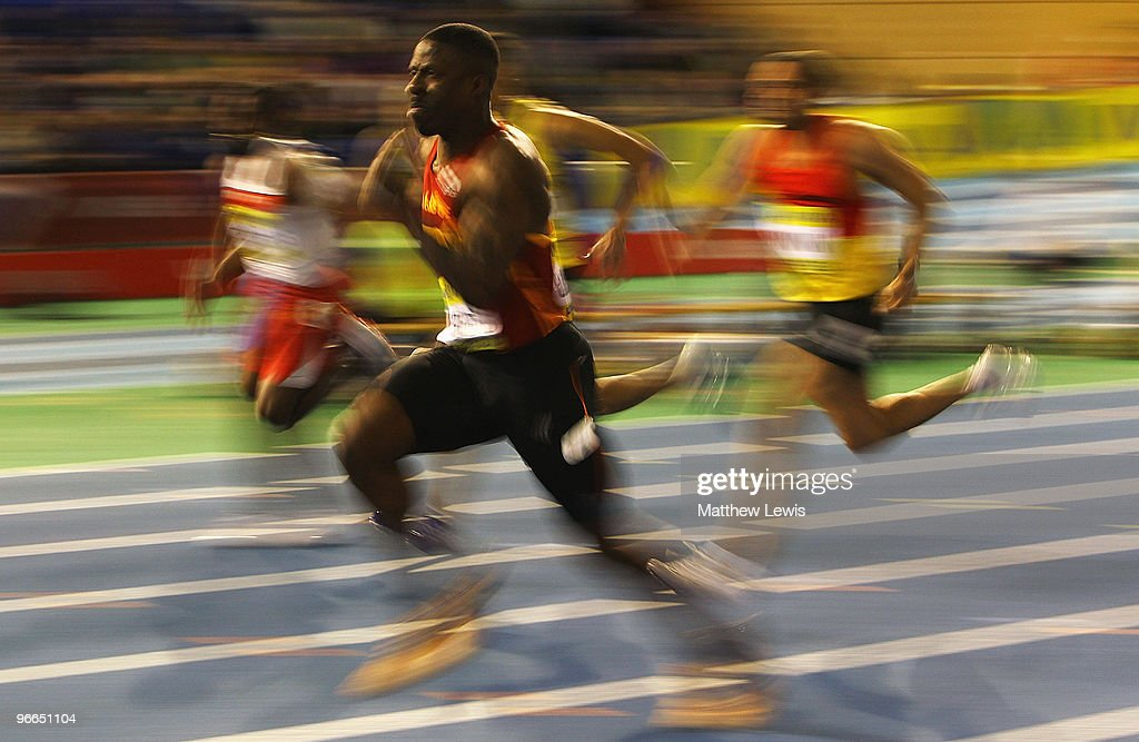 <a gi-track='captionPersonalityLinkClicked' href=/galleries/search?phrase=Dwain+Chambers&family=editorial&specificpeople=215102 ng-click='$event.stopPropagation()'>Dwain Chambers</a> of Belgrave Harriers in action during the Mens 60m heats during the first day of the AVIVA World Trials and UK Championships at the EIS on February 13, 2010 in Sheffield, England.