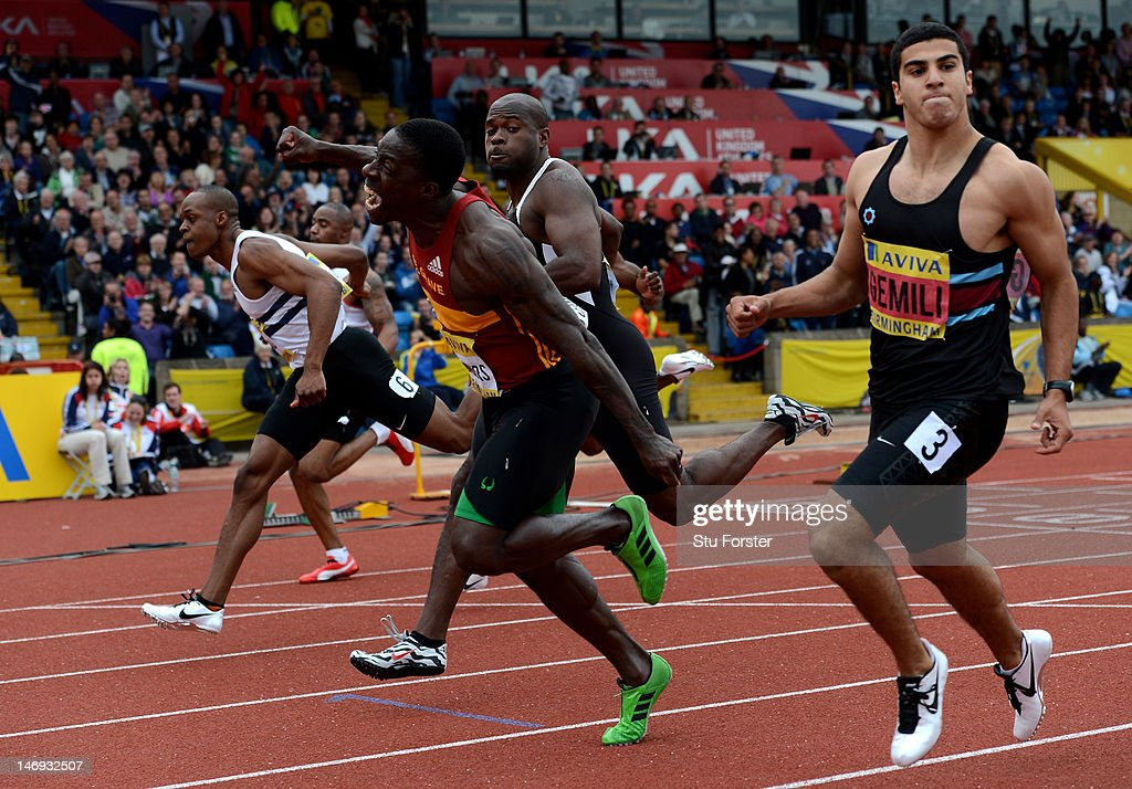 <a gi-track='captionPersonalityLinkClicked' href=/galleries/search?phrase=Dwain+Chambers&family=editorial&specificpeople=215102 ng-click='$event.stopPropagation()'>Dwain Chambers</a> of Great Britain celebrates winning the Men's 100 Metres Final during day two of the Aviva 2012 UK Olympic Trials and Championship at Alexander Stadium on June 23, 2012 in Birmingham, England.