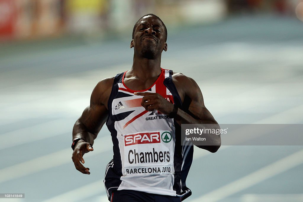 <a gi-track='captionPersonalityLinkClicked' href=/galleries/search?phrase=Dwain+Chambers&family=editorial&specificpeople=215102 ng-click='$event.stopPropagation()'>Dwain Chambers</a> of Great Britain looks dejected after finishing 4th in the Mens 100m Final during day two of the 20th European Athletics Championships at the Olympic Stadium on July 28, 2010 in Barcelona, Spain.