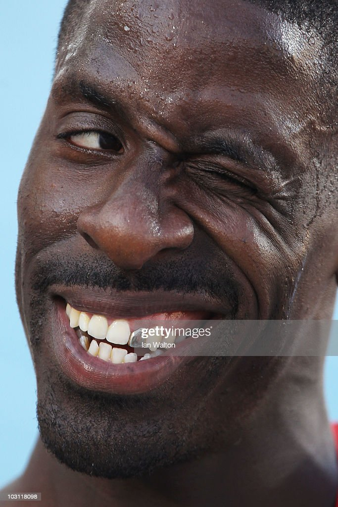 <a gi-track='captionPersonalityLinkClicked' href=/galleries/search?phrase=Dwain+Chambers&family=editorial&specificpeople=215102 ng-click='$event.stopPropagation()'>Dwain Chambers</a> of Great Britain smiles after winning his heat in the Mens 100m during day one of the 20th European Athletics Championships at the Olympic Stadium on July 27, 2010 in Barcelona, Spain.