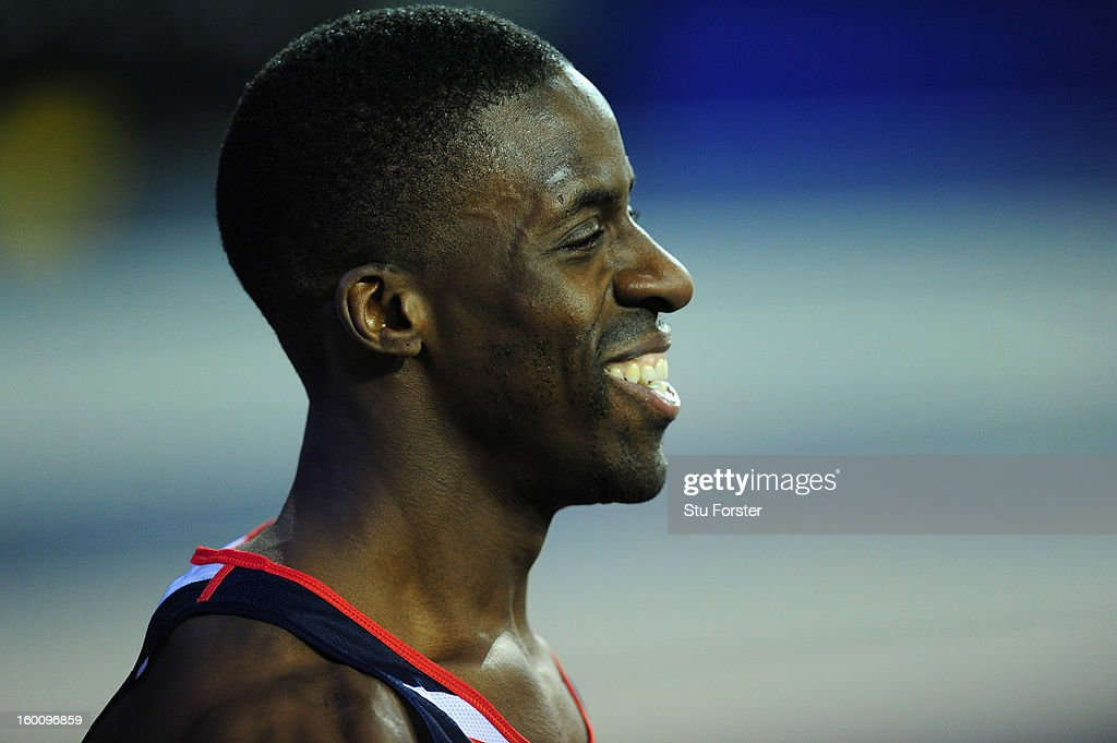 Dwain Chambers of Great Britain smiles after winning the Mens 60 metres during the British Athletics International Match at the Emirates Arena on January 26, 2013 in Glasgow, Scotland.