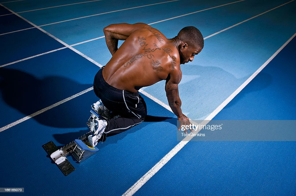 <a gi-track='captionPersonalityLinkClicked' href=/galleries/search?phrase=Dwain+Chambers&family=editorial&specificpeople=215102 ng-click='$event.stopPropagation()'>Dwain Chambers</a>, the British sprinter who was banned for taking drugs but is now competing again, at the Lee Valley Athletics Centre on January 13th 2009 in Edmonton, London (Photo by Tom Jenkins/Getty Images). An image from the book 'In The Moment' published June 2012