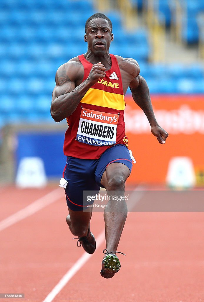 <a gi-track='captionPersonalityLinkClicked' href=/galleries/search?phrase=Dwain+Chambers&family=editorial&specificpeople=215102 ng-click='$event.stopPropagation()'>Dwain Chambers</a> wins his 100m heat during day one of the Sainsbury's British Championships, British Athletics World Trials and UK & England Championships at Alexander Palace on July 12, 2013 in Birmingham, England.