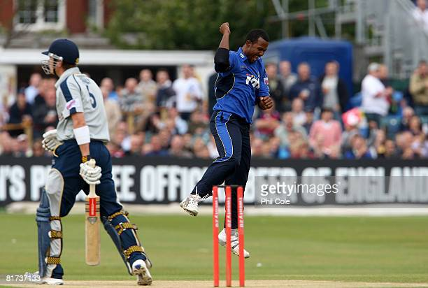 Dwain Smith os Sussex takes the wicket of Jo Denley of Kent during the Twenty20 Cup match between Sussex Sharks and Kent at Hove on June 27 2008 in...