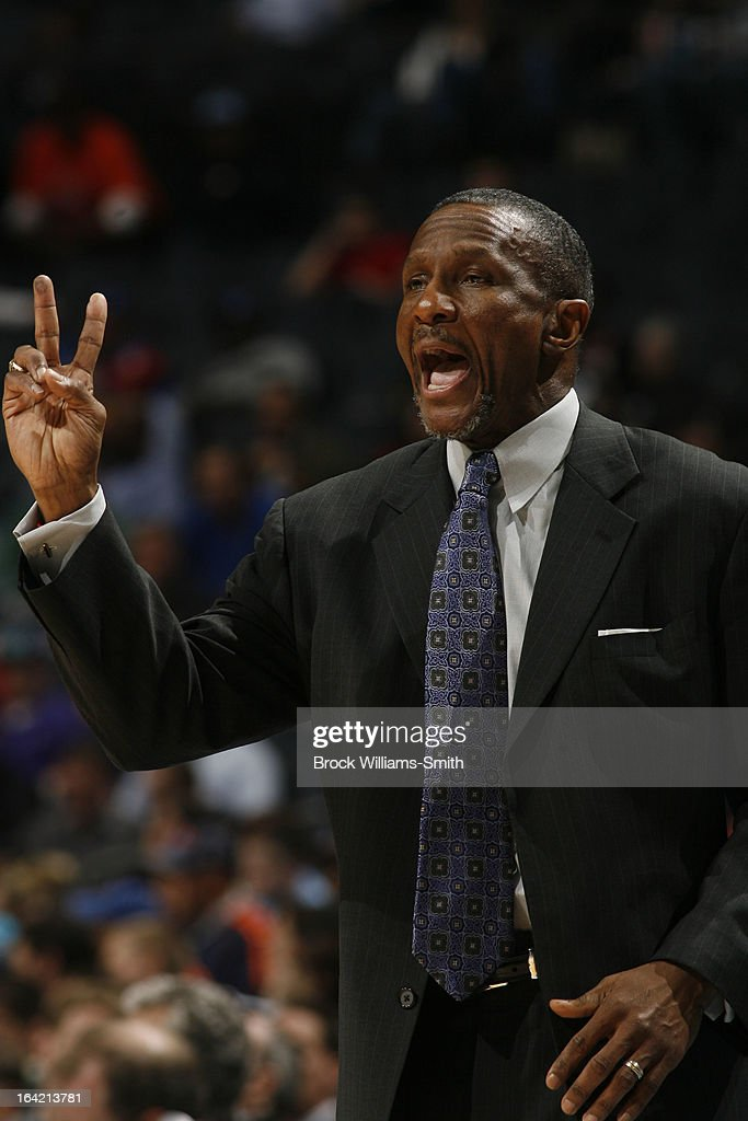 Dwane Casey, Head Coach of the Toronto Raptors, calls a play during the game against the Charlotte Bobcats at the Time Warner Cable Arena on March 20, 2013 in Charlotte, North Carolina.