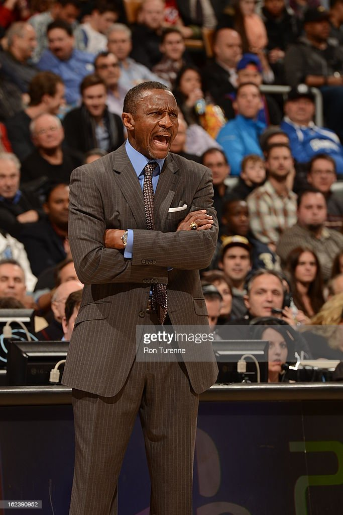 Dwane Casey, Head Coach of the Toronto Raptors, reacts during the game against the New York Knicks on February 22, 2013 at the Air Canada Centre in Toronto, Ontario, Canada.