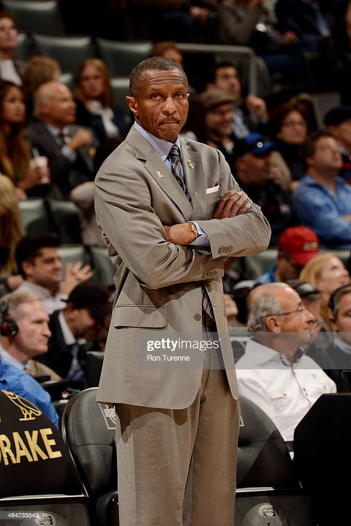 Dwane Casey Head Coach of the Toronto Raptors stands on the sideline during a game against the Philadelphia 76ers on April 9 2014 at the Air Canada...