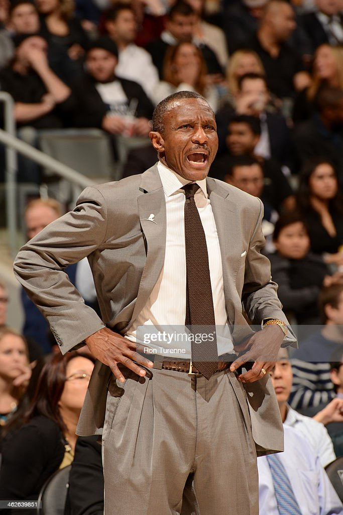 <a gi-track='captionPersonalityLinkClicked' href=/galleries/search?phrase=Dwane+Casey&family=editorial&specificpeople=242849 ng-click='$event.stopPropagation()'>Dwane Casey</a> of the Toronto Raptors coaches against the Milwaukee Bucks on January 13, 2014 at the Air Canada Centre in Toronto, Ontario, Canada.