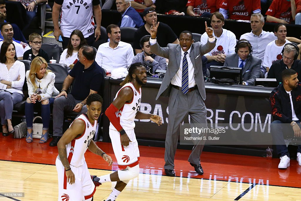 Dwane Casey of the Toronto Raptors coaches during Game Six of the NBA Eastern Conference Finals against the Cleveland Cavaliers at Air Canada Centre...