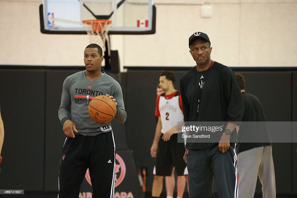 Dwane Casey of the Toronto Raptors coaches during their NBA practice at the Air Canada Centre on April 18 2014 in Toronto Ontario Canada NOTE TO USER...