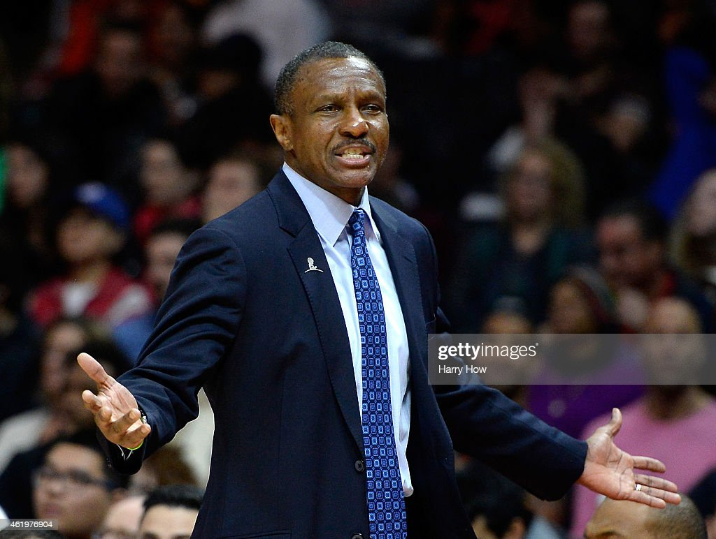Dwane Casey of the Toronto Raptors complains to the referee during the first half against the Toronto Raptors at Staples Center on December 27 2014...