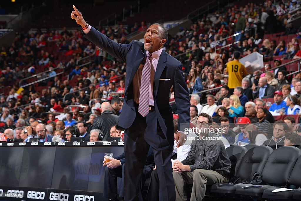 Dwane Casey of the Toronto Raptors directs his team during the game against the Philadelphia 76ers at the Wells Fargo Center on November 20, 2012 in Philadelphia, Pennsylvania.