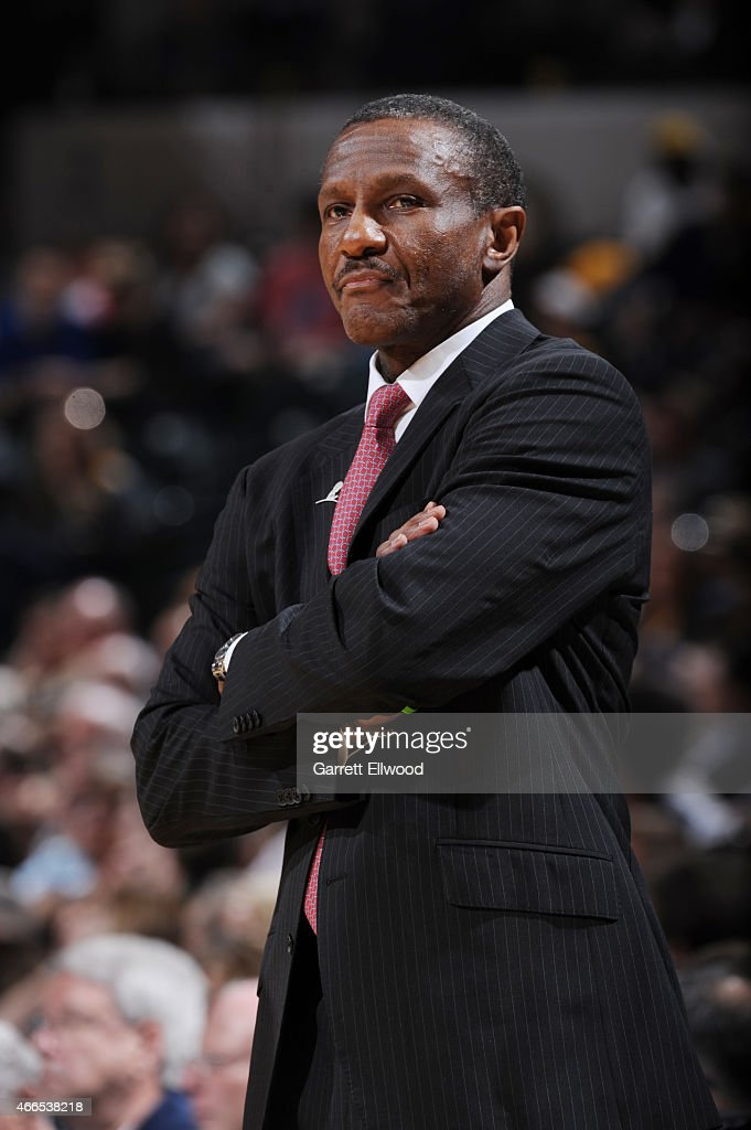 Dwane Casey of the Toronto Raptors during the game against the Indiana Pacers on March 16 2015 at Bankers Life Fieldhouse in Indianapolis Indiana...