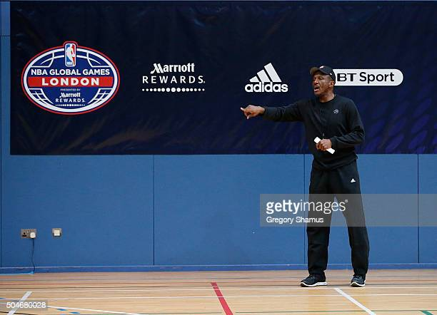Dwane Casey of the Toronto Raptors participates in practice as part of 2016 London Global Games on January 12 2016 in London England NOTE TO USER...