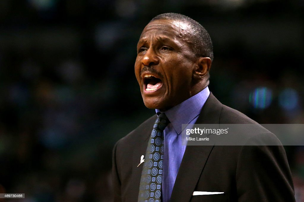 Dwane Casey of the Toronto Raptors reacts from the bench in the fourth quarter against the Boston Celtics at TD Garden on April 14 2015 in Boston...