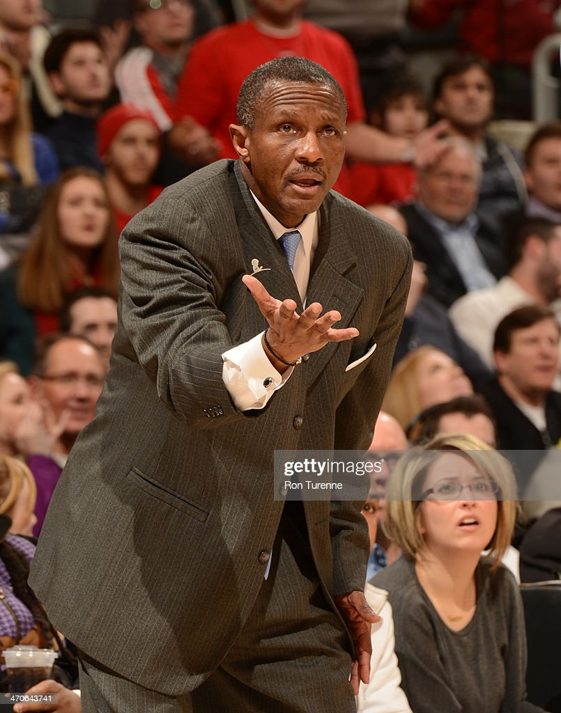 <a gi-track='captionPersonalityLinkClicked' href=/galleries/search?phrase=Dwane+Casey&family=editorial&specificpeople=242849 ng-click='$event.stopPropagation()'>Dwane Casey</a> of the Toronto Raptors reacts to a play during the game against the Chicago Bulls on February 19, 2014 at the Air Canada Centre in Toronto, Ontario, Canada.