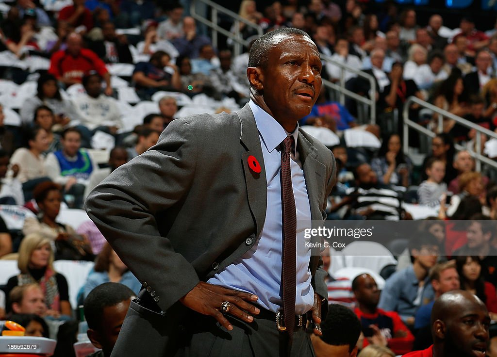 <a gi-track='captionPersonalityLinkClicked' href=/galleries/search?phrase=Dwane+Casey&family=editorial&specificpeople=242849 ng-click='$event.stopPropagation()'>Dwane Casey</a> of the Toronto Raptors reacts to the referees during the game against the Atlanta Hawks at Philips Arena on November 1, 2013 in Atlanta, Georgia.