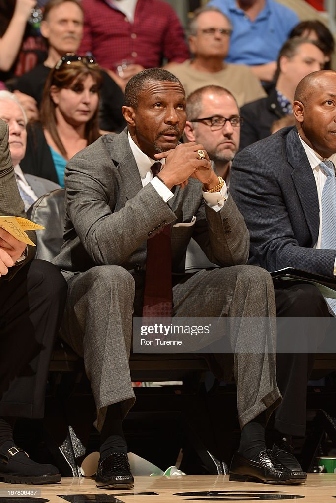 Dwane Casey of the Toronto Raptors sits on the bench during the game against the Atlanta Hawks on March 27, 2013 at the Air Canada Centre in Toronto, Ontario, Canada.