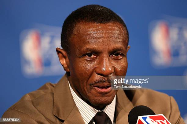 Dwane Casey of the Toronto Raptors speaks after defeating the Cleveland Cavaliers in game four of the Eastern Conference Finals during the 2016 NBA...