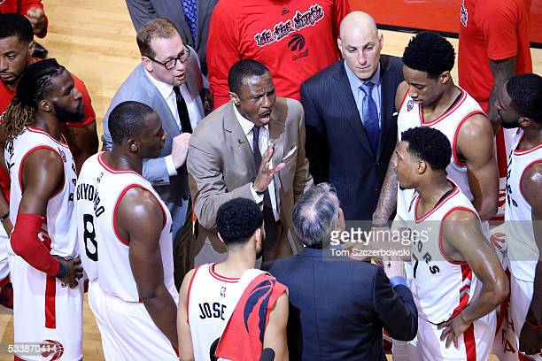 Dwane Casey of the Toronto Raptors speaks to his team late in the game against the Cleveland Cavaliers in game four of the Eastern Conference Finals...