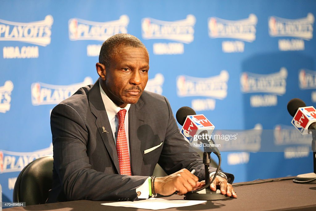 Dwane Casey of the Toronto Raptors speaks to the media after a game the Washington Wizards in Game One of the Eastern Conference Quarterfinals during...