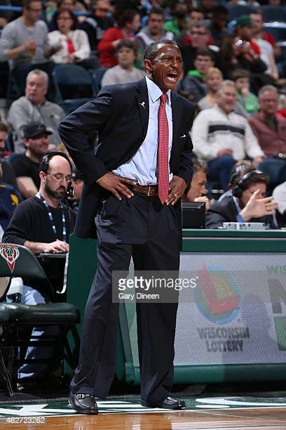 Dwane Casey of the Toronto Raptors stands on the court during a game against the Milwaukee Bucks on January 19 2015 at BMO Harris Bradley Center in...