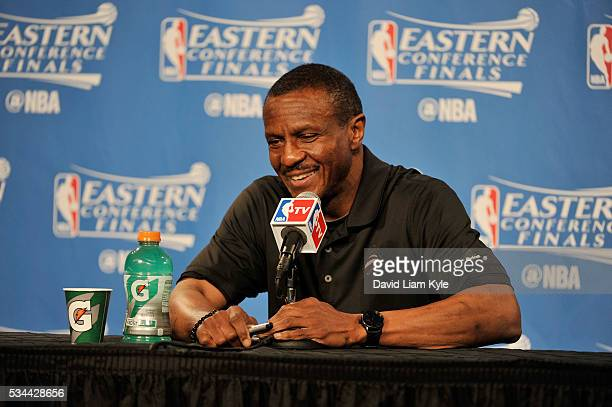 Dwane Casey of the Toronto Raptors talks to the media after the game against the Cleveland Cavaliers in Game Five of the Eastern Confernce Finals of...