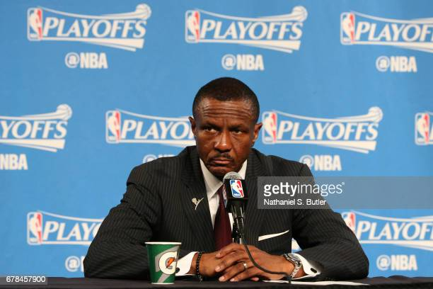 Dwane Casey of the Toronto Raptors talks to the media during a press conference after Game Two of the Eastern Conference Semifinals against the...