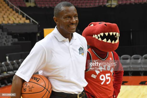 Dwane Casey of the Toronto Raptors teams up with Sunlife for the Dunk for Diabetes campaign on October 17 at the Air Canada Centre in Toronto Ontario...