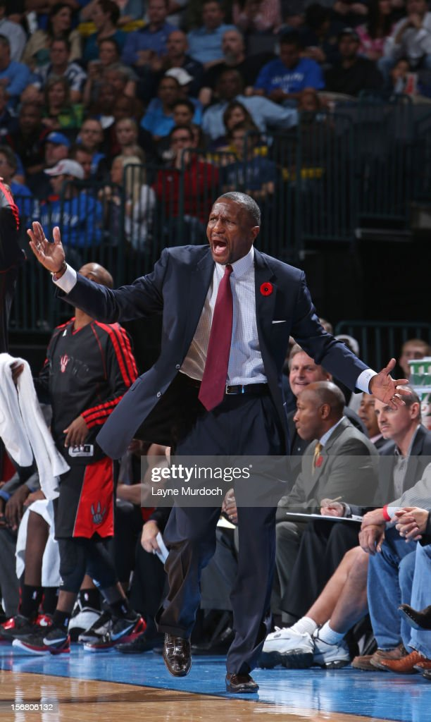 Dwane Casey of the Toronto Raptors walking the sideline during the game against the Oklahoma City Thunder game on November 6, 2012 at the Chesapeake Energy Arena in Oklahoma City, Oklahoma.