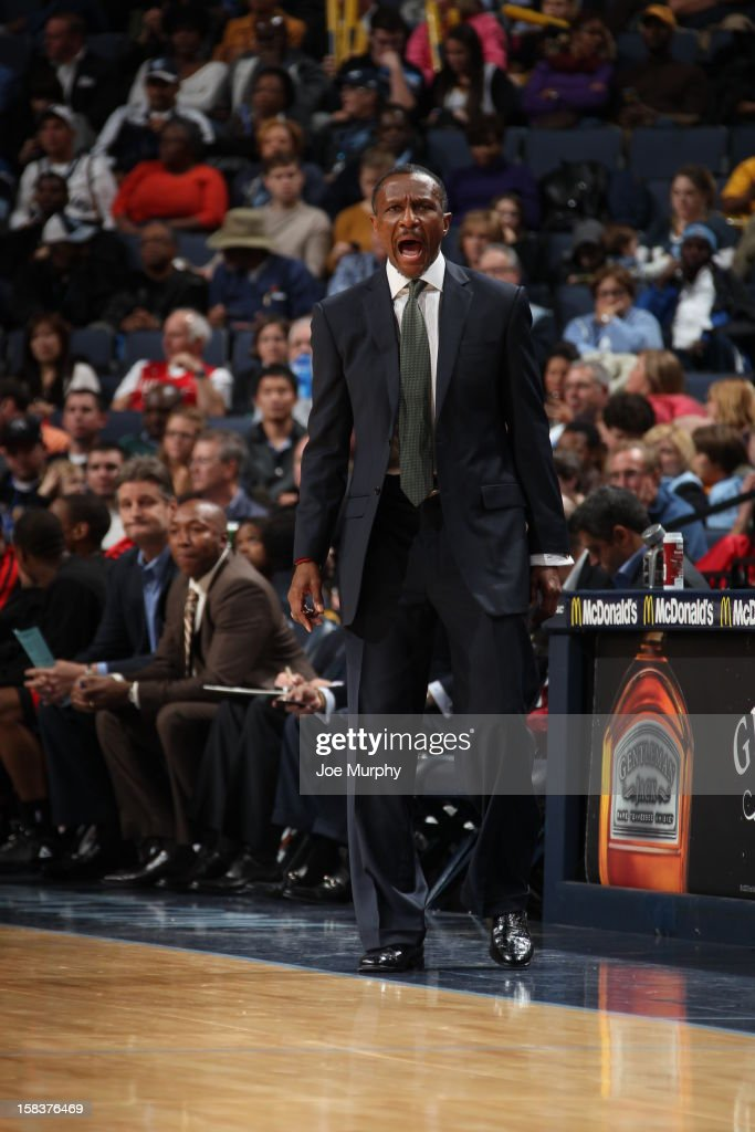 <a gi-track='captionPersonalityLinkClicked' href=/galleries/search?phrase=Dwane+Casey&family=editorial&specificpeople=242849 ng-click='$event.stopPropagation()'>Dwane Casey</a> of the Toronto Raptors yells at his team from the sideline in the game against the Memphis Grizzlies on November 28, 2012 at FedExForum in Memphis, Tennessee.