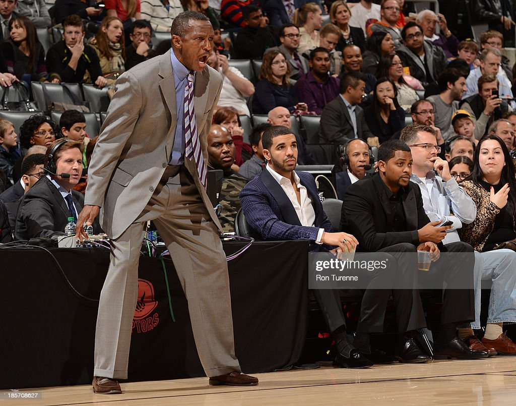 <a gi-track='captionPersonalityLinkClicked' href=/galleries/search?phrase=Dwane+Casey&family=editorial&specificpeople=242849 ng-click='$event.stopPropagation()'>Dwane Casey</a> of the Toronto Raptors yells during the game against the Memphis Grizzlies on October 23, 2013 at the Air Canada Centre in Toronto, Ontario, Canada.