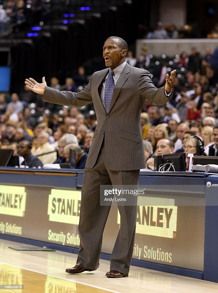 Dwane Casey the head coach of the Toronto Raptors gives instructions to his team during the NBA game against the Indiana Pacersat Bankers Life Fieldhouse on November 13, 2012 in Indianapolis, Indiana.