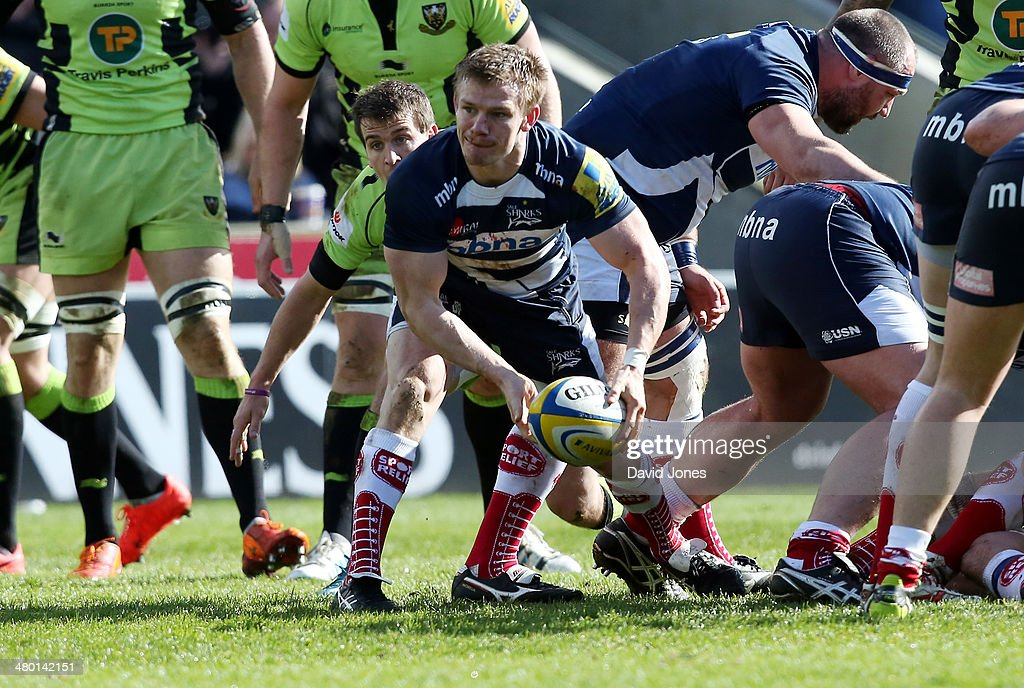 Dwayn Peel of Sale Sharks passes the ball during the Aviva Premiership match between Sale Sharks and Northampton Saints at A J Bell Stadium on March 22, 2014 in Salford, England