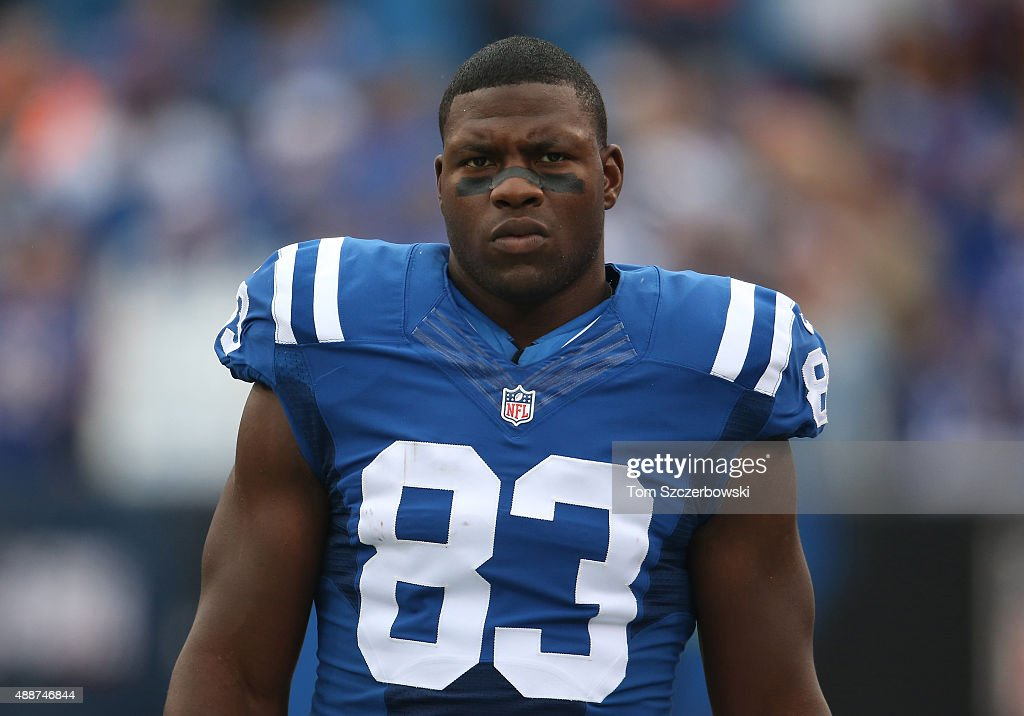 <a gi-track='captionPersonalityLinkClicked' href=/galleries/search?phrase=Dwayne+Allen&family=editorial&specificpeople=5292364 ng-click='$event.stopPropagation()'>Dwayne Allen</a> #83 of the Indianapolis Colts during NFL game action against the Buffalo Bills at Ralph Wilson Stadium on September 13, 2015 in Orchard Park, New York.